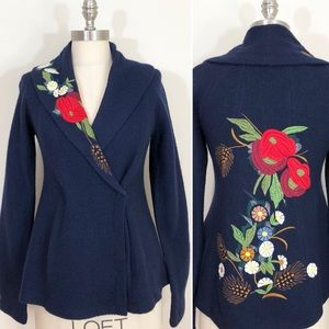 Anthropologie Navy Floral Wool Sweater, S